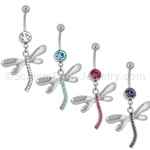 Gemmed Dragonfly Navel Dangle