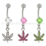 Pave Gem Pot Leaf Navel Dangle
