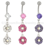 Multi-Gem Flower Navel Dangle