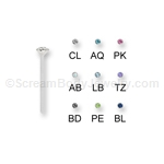 Sterling Silver Nose Pin with Crimped Set Crystal (5 Pack)
