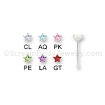 Sterling Silver Nose Bone with Prong Set CZ Star (5 Pack)