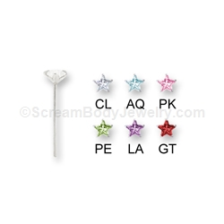 Sterling Silver Nose Pin with Prong Set CZ Star (5 Pack)