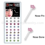 Sterling Silver Nose Stud with Crystal Flower Top - Assorted Colors (Box of 40)