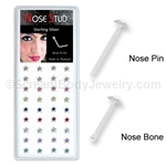 Sterling Silver Nose Stud with Crystal Stars - Assorted Colors (Box of 40)