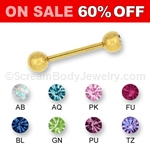 14kt Gold Plated Gemset Barbell