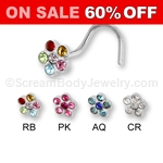 316L Surgical Steel Multi-Crystal Flower Nose Screw (5 Pack)