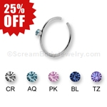 316L Surgical Steel Nose Ring with Gemset Stone