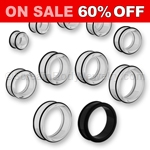 Jumbo Acrylic Tunnel with Inset O-Rings (1 Pair)
