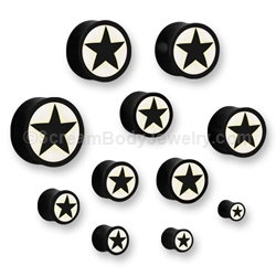 Organic Horn with Bone Inlay Star Plug (1 Pair)