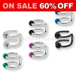 316L Surgical Steel Double Hoop Nose or Cartilage Clip with Anodized Ball