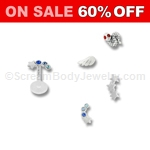 Bio-Flex Tragus Stud or Labret with Sterling Silver Top