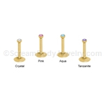 Internally Threaded Gold Anodized Gemset Monroe Labret