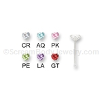 Sterling Silver Nose Bone with 3mm Prong Set CZ Heart (5 Pack)