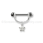 316L Surgical Steel Nipple Bar with Clip-On Crystal Star Dangle