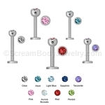 Externally Threaded 316L Surgical Steel Gemset Monroe Labret