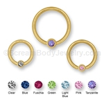 14kt Gold Plated Captive with Gemset Ball (14ga)