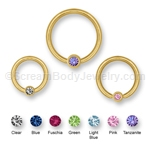 14kt Gold Plated Captive with Gemset Ball (16ga)