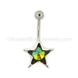 Sterling Silver Star with Special Effect Crystal Navel Ring