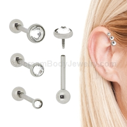 Internally Threaded 316l Surgical Steel Triple Helix Cartilage Tragus Stud With Low Profile Gem Set