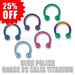 High Polish Grade 23 Titanium Circular Barbell