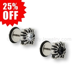 316L Surgical Steel Tribal Cross CZ Fake Plug (1 Pair)