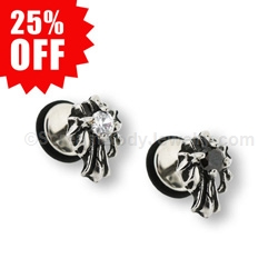 316L Surgical Steel Gothic Angel Cross CZ Fake Plug (1 Pair)