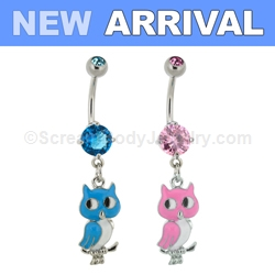 316L Surgical Steel Double Gem with Inlaid Owl Dangle