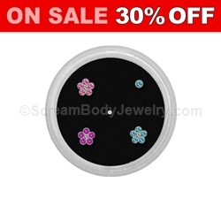 Sterling Silver Nose Studs with Assorted Flowers and Crystals (5 Piece Gem Jar)