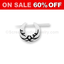 Organic Bone with Tribal Design Inlay Earring Taper (1 Pair)